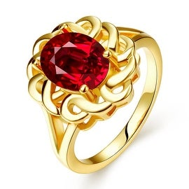 Gold Plated Chain Lock Ruby Red Ring