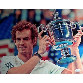 Andy Murray Holding US Open Trophy To The Right Horizontal 11x14 Photo