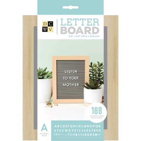 "Dcwv Standup Letterboard 5""X7""-Grey W/Light Wood Frame"