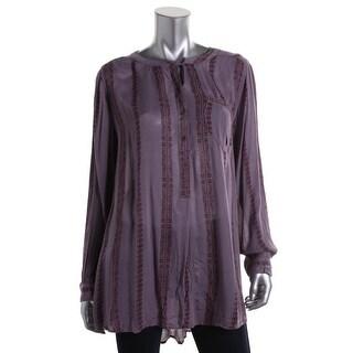 Free People Womens Long Sleeves Printed Pullover Top