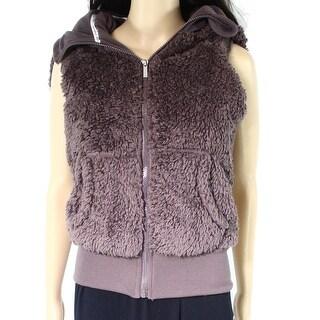 Kensie NEW Purple Womens Size XS Full-Zip Hooded Sherpa Vest Jacket