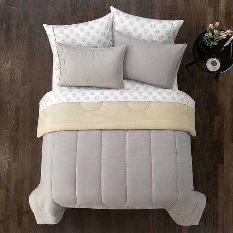Casa 7pc Solid Reversible Comforter Set