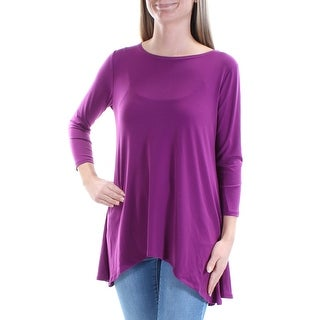 Womens Purple 3/4 Sleeve Jewel Neck Casual Top Size XS