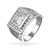 Bling Jewelry .925 Silver Square Princess Cut Pave CZ Triangles Mens Engagement Ring