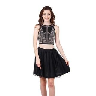 Two Piece Beaded Short Dress