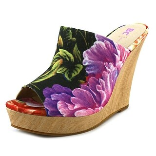BC Footwear Terrier Women Open Toe Canvas Wedge Heel