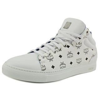 MCM Monogram Low-Top Men Round Toe Leather White Sneakers