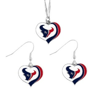 Houston Texans NFL Glitter Heart Necklace and Earring Set Charm Gift