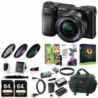 Sony Alpha a6000 Mirrorless Camera w/ 16-50mm Lens & Two 64GB SD Card Bundle