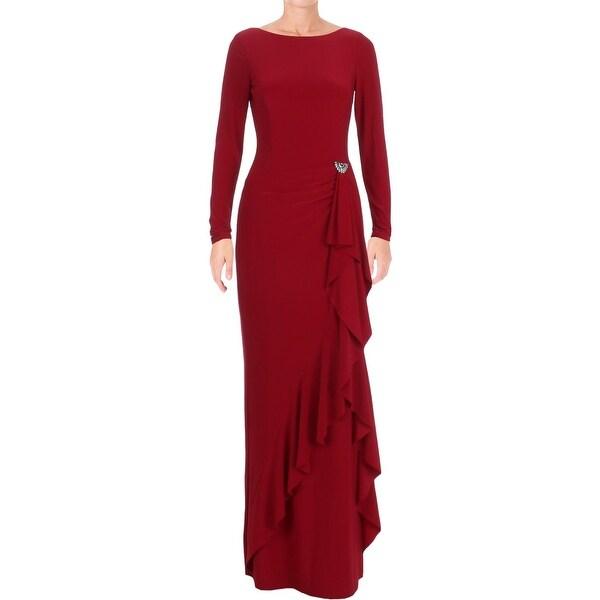 Shop Ralph Lauren Womens Evening Dress Embellished Long Sleeves ...