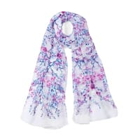Long Chiffon Beach Scarf Silk Scarves Floral Scarves for Women White-2