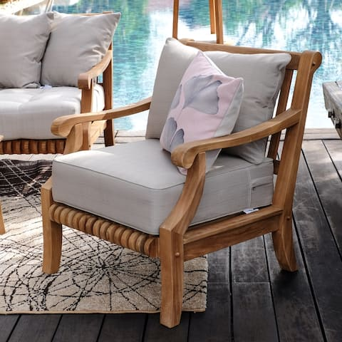 Chara Teak Patio Lounge Chair with Cushion by Havenside Home