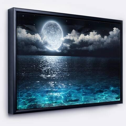 Designart 'Romantic Full Moon Over Sea' Seascape Framed Canvas Art Print