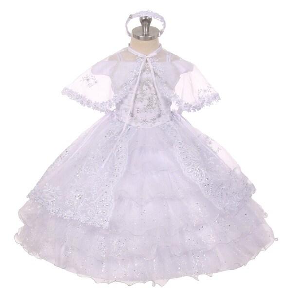 Rain Kids Baby Girl White Virgin Mary Embroidery Baptism Christening Dress 6-12M