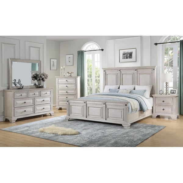 Renova Distressed Parchment Wood Bedroom Set with Panel Bed, Dresser, Mirror, Nightstand, Chest. Opens flyout.