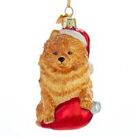 "3.5"" Noble Gems Pomeranian in Santa Hat with Retro C7 Bulb Glass Christmas Ornament - brown"