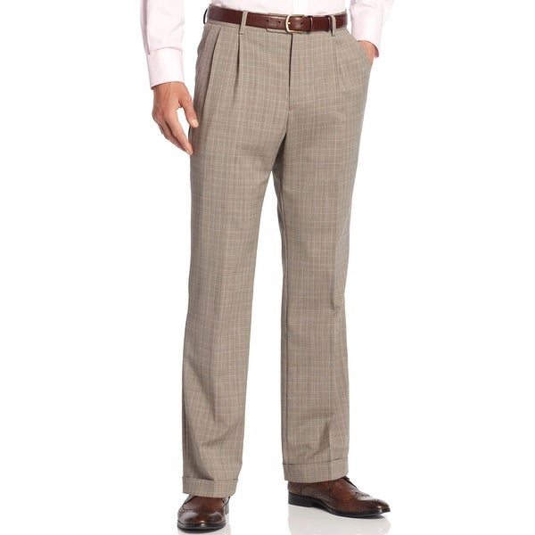 Nautica Anchor Double Pleated Dress Pants Tan Plaid Trousers Cuffed