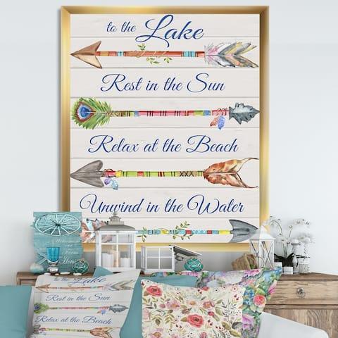 Designart 'Sentimental Arrows-Lake' Lake House Framed Art Print