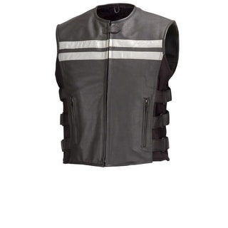 Men Cowhide Leather Motorcycle Biker Hi-Viz Vest Reflective Stripes Black MBV106