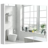 "36"" Wide Wall Mount Mirrored Bathroom Medicine Cabinet Triple Mirror Door"