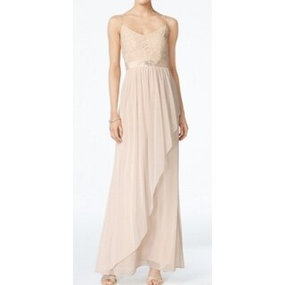 Adrianna Papell NEW Beige Womens Size 16 Embellished Chiffon Gown