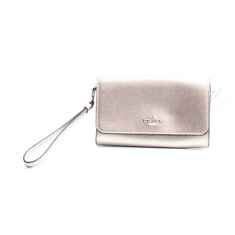 Coach NEW Gold Platinum Polished Leather Smartphone Clutch Wristlet