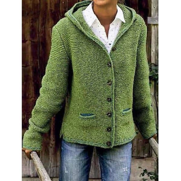 Hooded Long Sleeve Knitted Cardigan Sweater Outerwear. Opens flyout.