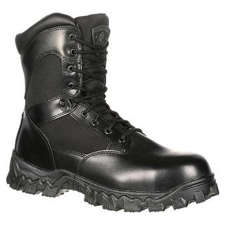 "Rocky Men's 8"" AlphaForce Zipper 2173 Black Leather"