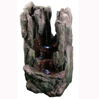 Sunnydaze Rock Cavern Falls Outdoor Rock Fountain with LED Lights 38 Inch Tall