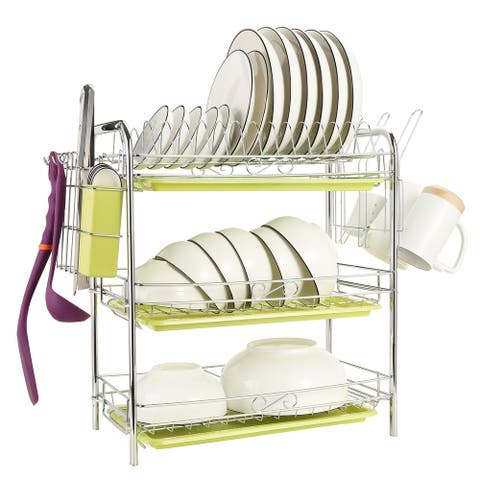 "3 Tier Chrome Dish Drainer Rack Kitchen Storage w/ Draining Board - 7'6"" x 9'6"""