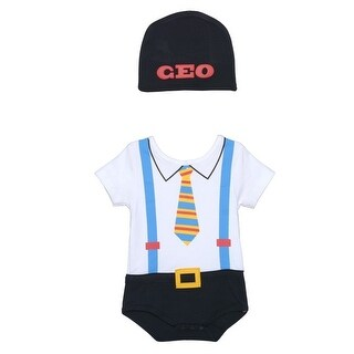 Sozo Baby Boys Black Businessman Print Short Sleeve Hat Bodysuit Set 0-3M