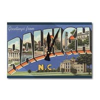 Raleigh, NC Large Letter Scenes - Vintage Halftone (Acrylic Wall Clock) - acrylic wall clock