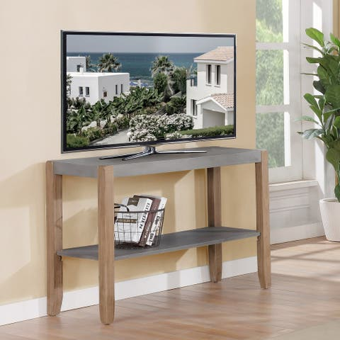 The Gray Barn Enchanted Acre Faux Concrete and Wood Sofa Console Table