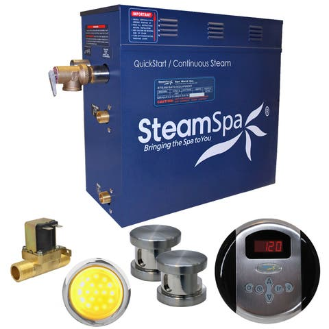 SteamSpa IN1050-A Indulgence 10.5 KW QuickStart Acu-Steam Bath Generator Package with Built-in Auto Drain and Digital