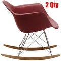 2xhome Modern Eames Rocking Chair Armchair With Arm Colors Natural Wood Rockers Dining (Set of 2) - Thumbnail 7