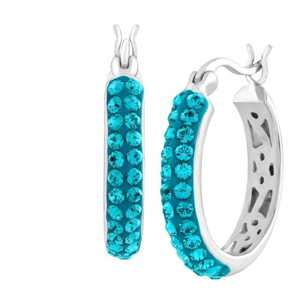 e73a2293f Crystaluxe Hoop Earrings with Indicolite Swarovski Crystals in Sterling  Silver - Blue