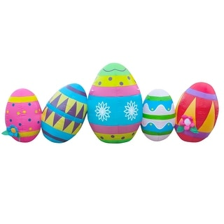 Holidayana Easter Egg Decorations / 8 ft Wide Easter Yard Decorations / LED Easter Lighted Decorations