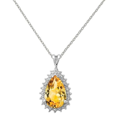 Sterling Silver Rhodium-plated Citrine and Diamond Pear Pendant with 18-inch Cable Chain by Versil