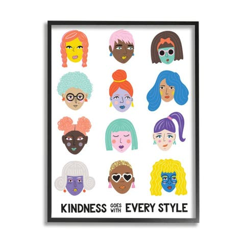 Stupell Industries Kindness Every Style Phrase Inclusive Female Portraits Framed Wall Art
