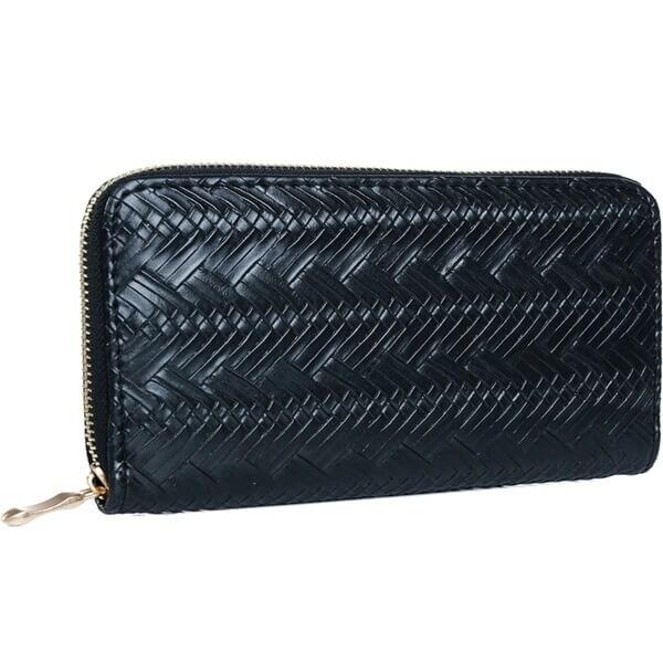 Mad Style Black Herringbone Zipper Wallet
