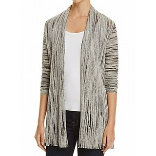 NIC + ZOE NEW Gray Women's Size Medium M Burnout Open Cardigan Sweater