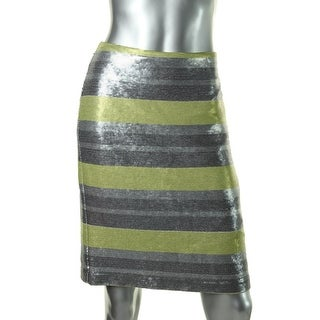 Vince Camuto Womens Neutral Twist Striped Sequined Pencil Skirt