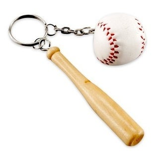 Rhode Island Novelty Baseball & Wooden Bat Keychains, 3-Inch, Pack of 12