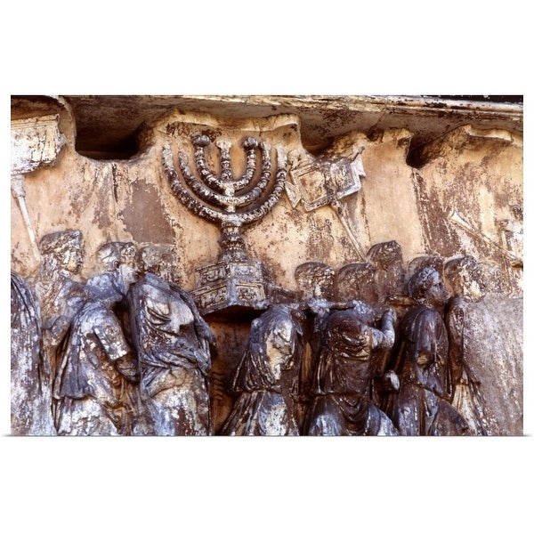 """Relief on wall of Forum depicting Roman troops taking menorah from temple"" Poster Print"