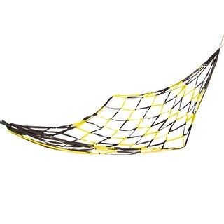 Unique Bargains Nylon Mesh Hang Hammock Swing Sleeping Net Bed Yellow for Travel Camping
