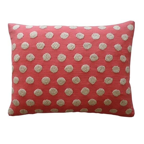 Vivai Home Pink Cotton Ball Rectangle 12x 20 Feather Throw Pillow