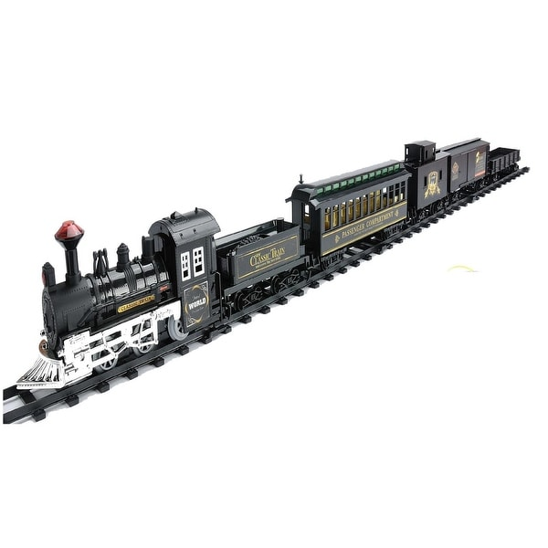 16-Piece Battery Operated Lighted & Animated Classic Train Set with Sound - black