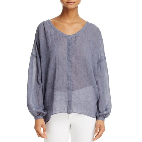French Connection Womens Casual Top Hi-Low Bishop Sleeves