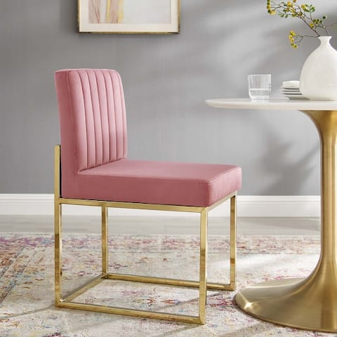 Silver Orchid Haussermann Channel Tufted Sled Base Velvet Dining Chair