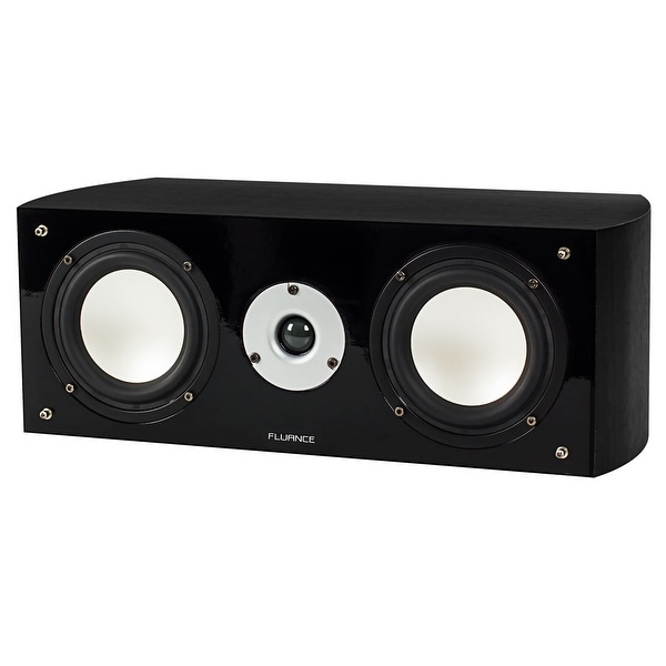 Fluance XL7CBK High Performance Two-way Center Channel Speaker for Home Theater - Black Ash